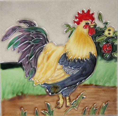 YH-Arts - Azulejo de Gallo de cerámica, Multicolor, 15x 15 cm
