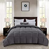 DOWNCOOL Goose Down Alternative Quilted Comforter-All Season Luxury 350 GSM Comforter-Plush Microfiber Fill- Duvet Insert or Stand-Alone Comforter with Corner Tabs(Queen, Grey)