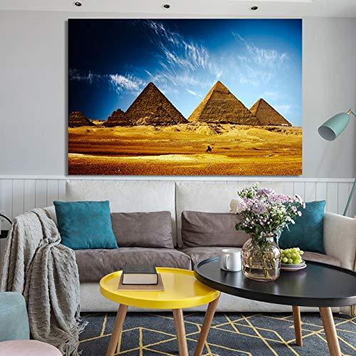 SADHAF Modern landschap poster kunstdruk canvas schilderij Egyptische piramide woestijnlandschap huis decoratie decoratie 60x90cm (kein Rahmen) A5