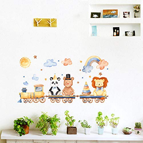 Cute Lion Bear On Train Vinyl Wall Stickers Funny Cartoon Animal Wall Decal for Kids Rooms Bedroom Living Room Home Decor
