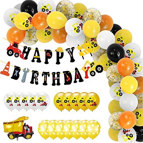 Ropniik Bagger Kinder Geburtstag Party Dekor Ballon Set, BAU Geburtstagdeko, Baustelle Dekoration, Happy Birthday Banner, Baufahrzeug Feuer Auto Folienballons, Bagger Luftballons für Jungen