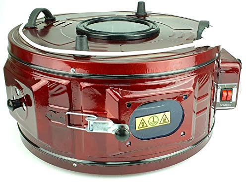 Neudorf Electronic elektrischer Mini-Backofen (metallic-rot, 2x 550 Watt, 50-300 °C, Volumen 36 Liter)/ Ober- & Unterhitze (2 Heizelemte) stufenlos regulierbar/Backblech (emailliert) & Grillgitter