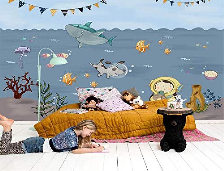 Entrega directa y rápida de fábrica Papel tapiz tapiz tapiz 3D Papel tapiz fotográfico personalizado mural habitación de los nios pintados a mano de dibujos animados pintura subacuática Fondo de pantalla de TV para parojo 3d-200X140CM  envío rápido en todo el mundo