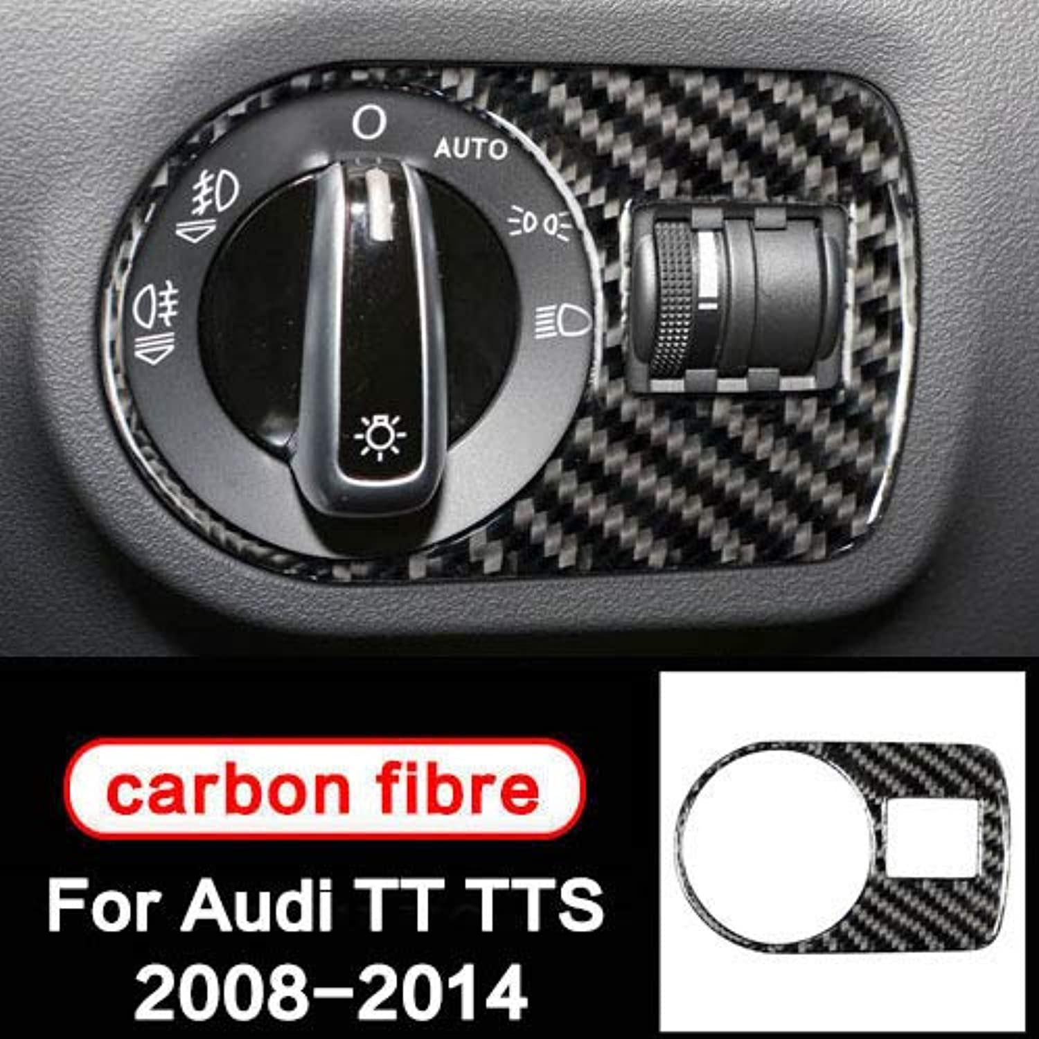 For Audi TT 8n 8J MK1 2 3 TTRS TTS Accessories Car Styling 3D Sticker Carbon Fiber Car Headlamp Switch Trim 2008 10 11 12 13 14  (color Name  Headlamp Switch)