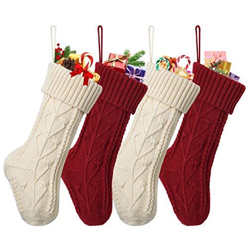 Dremisland Gestrickt Weihnachtsstrümpfe 4er Set, 38cm Große Klassische Personalisiert Weihnachtssocken Kamin Hängenden Strumpf für Familienurlaub Weihnachten Party Dekoration (Sahne & Burgund)