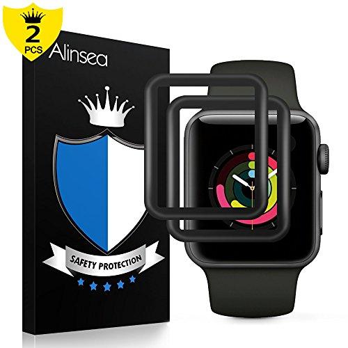Alinsea Apple Watch 42mm Films protecteurs Serial2/3[2pcs], Verre Film de Protection [HD 9H dureté] Super Abrasion Dur Scratch résistant Non trempé en Verre trempé