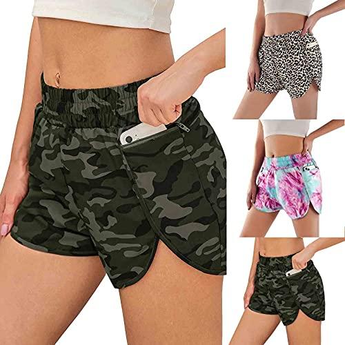 Damen Shorts Sport, Jogginghose für Damen Laufshorts Sporthose mit Taschen Baumwolle Yoga Kurze Hose Sweatpants Baumwolle Shorts Schlafanzughose für Fitness, Running, Yoga, Wandern, Gym, Tanzen