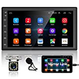 Podofo Double Din Android Car Stereo with GPS Navigation Backup Camera 7' HD Touch Screen Car Radio Audio Receiver Support Mirror Link/Bluetooth/FM/WiFi/Dual USB/Mic Input