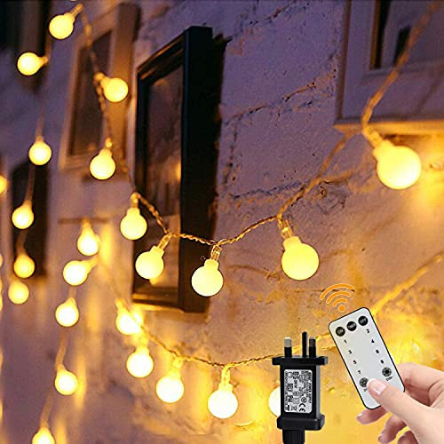 Globe String Lights,49ft 100 Led Fairy Lights Mains Powered with 8 Mode Remote Control, Perfect for Indoor and Outdoor for Garden Lights,Holiday,Rooms,Patio,Gazebo and Wedding Decor,Warm White