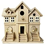 unfinished bird house - Hamiledyi Wooden Bird House for Hummingbird,Unfinished Big Castle Sparrow Breeding Box for Nuthatches, Chickadees,Wrens or Other Small Birds