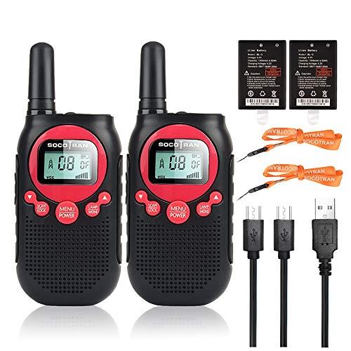 Walkie Talkies para Niños Recargable, Licencia Gratuita PMR446 Radio de 2 vías con VOX SCAN Linterna 10 Tono de Llamada para Almacén & Restaurante