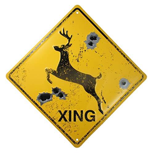 Señal de cruce de ciervos, agujeros de bala, estilo rústico