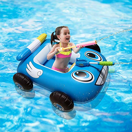 Swimming Pool Float,Water Gun for Kids,Summer Inflatable Fire Boat Pool Float for Kids with Built-in Water Gun Inflatable Folating Boat for Children Cute Cartoon Swim Ring Float Sea
