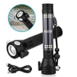 Breewell Aluminium 7 Mode Rechargeable Solar LED Torch Flashlight Use for Car Emergency