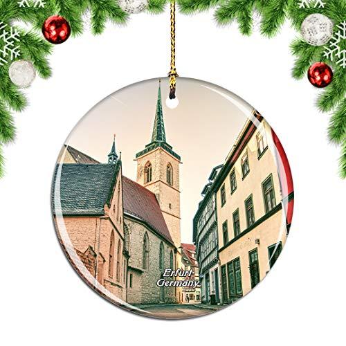 Weekino Deutschland Thüringen Erfurt Weihnachtsdekoration Christbaumkugel Hängender Weihnachtsbaum Anhänger Dekor City Travel Souvenir Collection Porzellan 2,85 Zoll