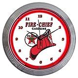壁掛け 時計 ネオンクロック「TEXACO FIRE-CHIEF GASOLINE」レッドネオン テキサコ