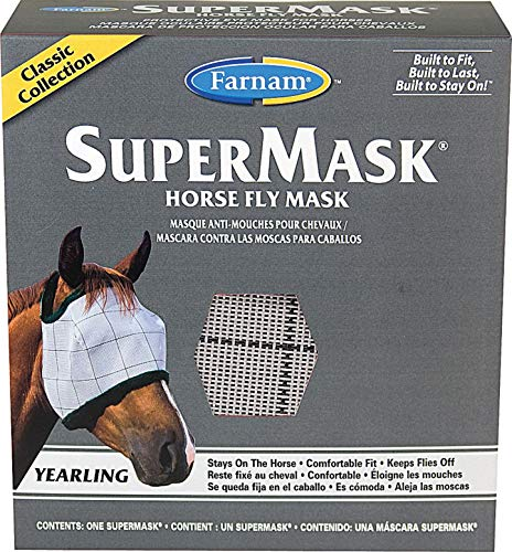 Farnam 100526863 SuperMask II Horse Fly Mask, No Ears, Yearling - Quantity 12