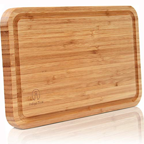 Indigo True Company Bamboo Cutting Board with Juice Groove - Convenient Size 8îx13î | Extra Thick Board | Serving Tray | Designed