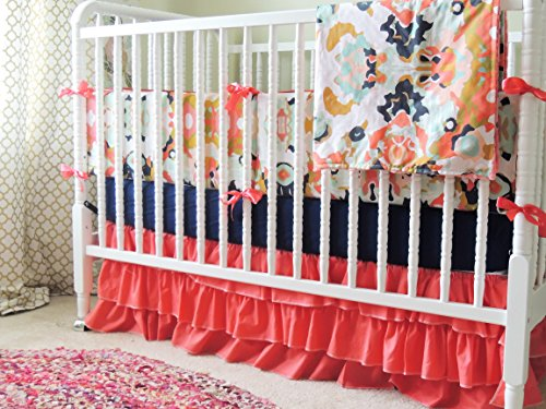 Amazing Deal Custom Crib Bedding, Aqua and Coral Baby Bedding, Coral Jubillee, Coral Ruffle Skirt, N...
