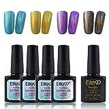 Elite99 Holographic Rainbow Nail Polish Set with Soak Off UV LED Metallic Top Coat Nail Varnish Art Decoration Manicure 5PCS (C001)