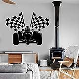 Superkart Wandtattoo Karierte Flagge Formel Karting Wandaufkleber für Kinder Jungen Schlafzimmer Spielzimmer Erstaunliches Kart Auto A1 57x75cm