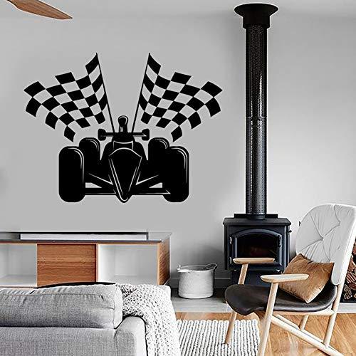 Superkart Wall Decal Checkered Flag Formula Karting Wall Stickers for Kids Boy Bedroom Playroom Amazing Kart Car A8 42x55cm