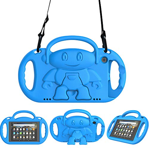 Surom Kids Case for Amazon Fire HD 8 2018/2017 Release (Previous Models), Light Weight Shock Proof Friendly Handle Kids Stand with Shoulder Strap Not for 2020 Fire HD 8 Tablet, Blue
