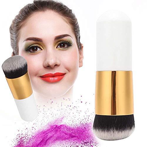 Cepillo de maquillaje blanco, hecho de madera y anillo de aluminio 10,5 cm de fibra de lana que se mezcla con la cara en polvo