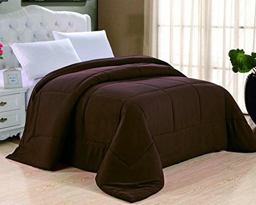 Cathay Home Double Fill Down Alternative Comforter, Twin, Chocolate