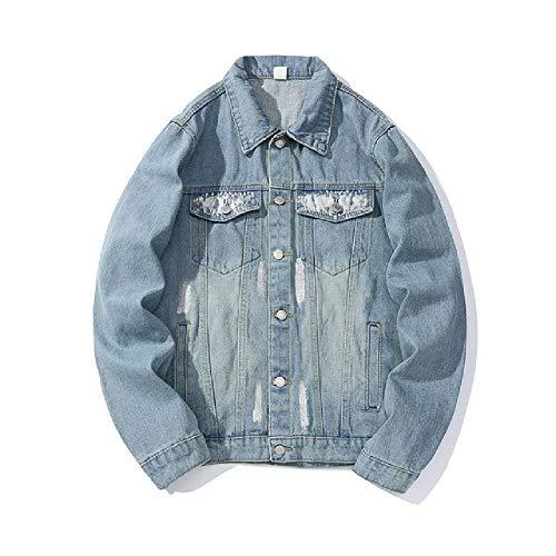 Patroon Letter Ripped Jeans voor Mannen Lapel Losse High Street Denim Jas Casual Hip Hop Veste Homme Bomber Jas Erkek Mont Top