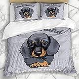 Juegos de Fundas nórdicas Marrón Cachorro Perro Dachshund Triste Cara gráfica Old Pet Wiener Design Art Ropa de Cama de Microfibra con 2 Fundas de Almohada Fácil Cuidado Anti-alérgico Suave Suave