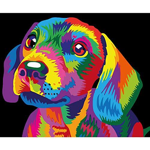 Arfbear DIY Pintura al óleo, Pintura por Kits de números para Adultos Principiantes, Estudiantes, Pared Lienzo Arte decoración del hogar sin Marco 16 * 20 Pulgadas (Perro)