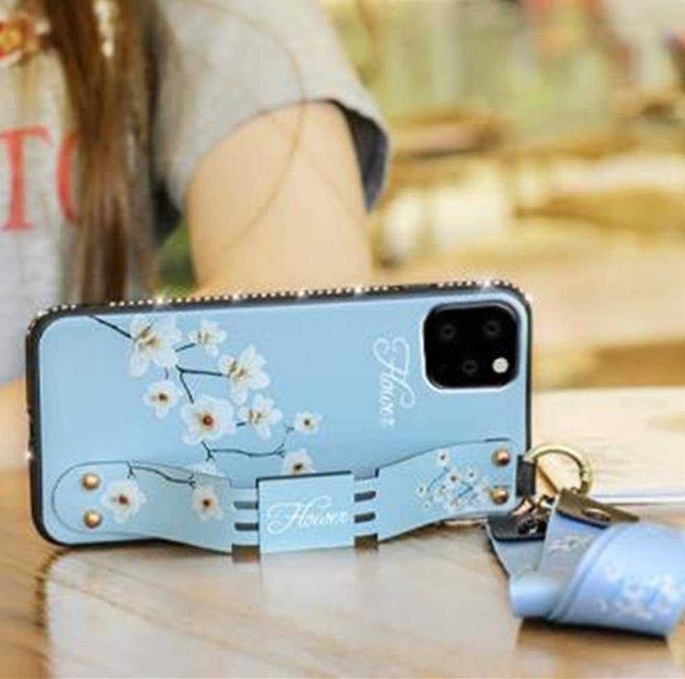 Aulzaju Case for Note 20,Samsung Galaxy Note 20 Case with Lanyard Note 20 Cute Flower Case for Girl Women Note 20 Wrist Hand Strap Stand Cover with Ring for Keychain Airpods Soft Silicone Case-Blue