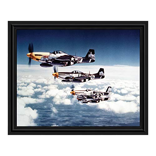 Crossroads Home Décor P-51 Mustang Fighters, World War Two Image, Aviation Picture Frame, 2113B
