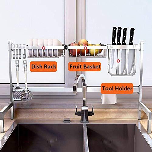 Acero Inoxidable Escurreplatos para Muebles de Cocina de 2 Pisos con Bandeja de Gota Extraíble,83x27x55cm / 33x11x22in,Plata Drying Rack para Colgadores De Bandejas, Organizador De Almacenamiento Mon