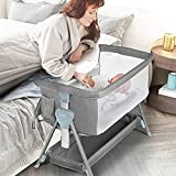 Kinder King Portable Baby Bassinet w/Carry Bag, Newborn Bedside Crib Sleeper, Folding Infant Travel Crib w/Mattress, Adjustable Height/Angle, Easy Moving, Storage Space, Breathable Mesh (Light Grey)