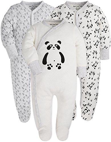 Both Meet Yuan Baby Cotton Cartoon Pajamas Baby Girls and Boys Long Sleeve Romper (Panda, 3-6M)