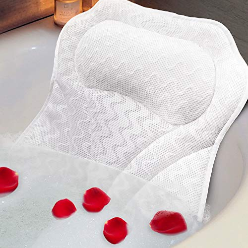 Raffaelo Spa Bath Pillow, Non-Slip Suction Cups Bathtub Cushion for Neck and Head, Comfortable Bathtub Pillow Rest Pillow, 3D Air Mesh Cover, Fits Any Size Tub, Jacuzzi, Soaked Tub, Spas (White)