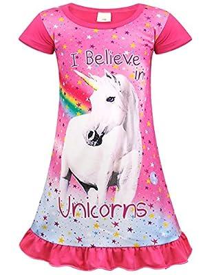 Jurebecia Unicornio Pijama Vestidos camisón con Manga Corta en Vestido para niñas 9-10 años