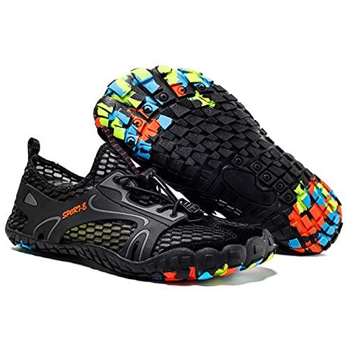 Zapatos para el Agua Hombres Mujeres, Zapatos Descalzos,Zapatos para Correr en senderos Deportes de Secado rápido Zapatos acuáticos Zapatos Unisex para Nadar,Yoga,Playa,Paseos en Bote,Negro,40