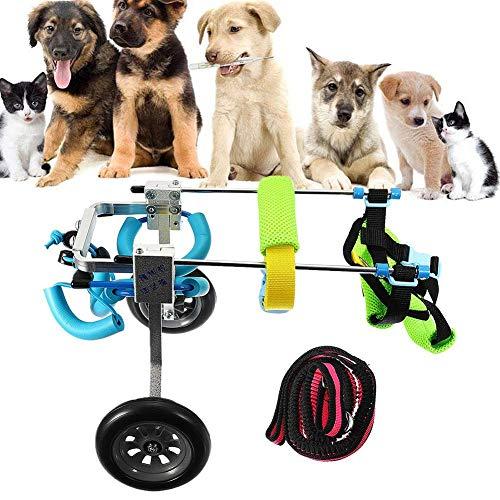 JXJ Silla de Ruedas para Perros, 2 Ruedas, Patinete Ajustable para Mascotas, Ligero, ortopédico, para rehabilitación de Patas traseras para Perros con Artritis y displasia de Cadera, para Mascot