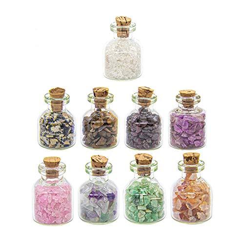 LQKYWNA 9 Piezas De Mini Botellas Cristales De Piedras Preciosas Piedras De Cristal Colección Kit De Cuarzo Natural De Grava Deseando Conjunto De Botella para El Hogar Craft
