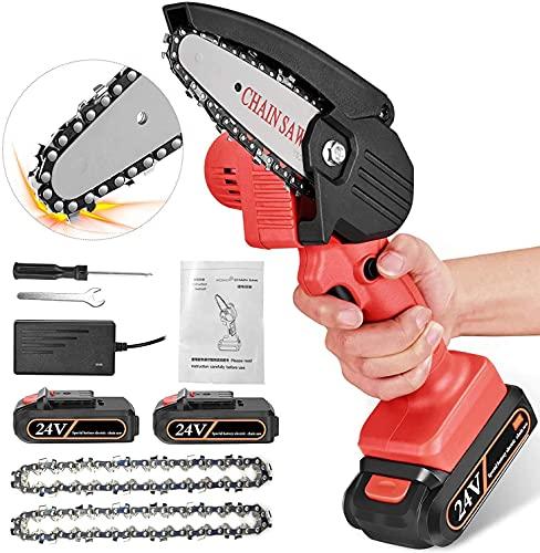 Kacsoo Sega elettrica per potatura Portatile 24V Con caricabatterie e 2 batterie, Velocità di taglio regolabile, Catena resistente all'usura, Motosega elettrica a batteria Per potare i rami (Rosso)