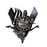 Enofvd Reloj de Pared con brújula vikinga, Reloj de Pared con Registro de Vinilo Colgante Vintage, Reloj de Pared nórdico Misterioso Art Deco, Sala de Estar de 12 Pulgadas