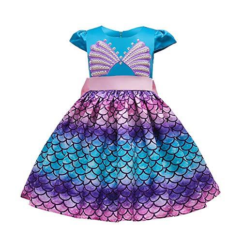 IDOPIP Disfraz de Sirena para Niñas Vestido de Princesa Sirena para de Carnaval Halloween Ariel Fiesta Cumpleaños Ceremonia Navidad Cosplay Disfraces de fotografia Azul 02 9-10 años