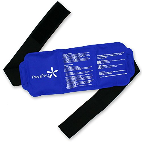 """TheraPaQ Ice Pack for Injuries - Hot & Cold Gel Compress Packs for Back, Ankle, Knee, Arm, Shoulder Pain Relief - Reusable, Flexible Therapy Heat Wrap w/Adjustable Strap - Large Pack:14""""x6"""""""