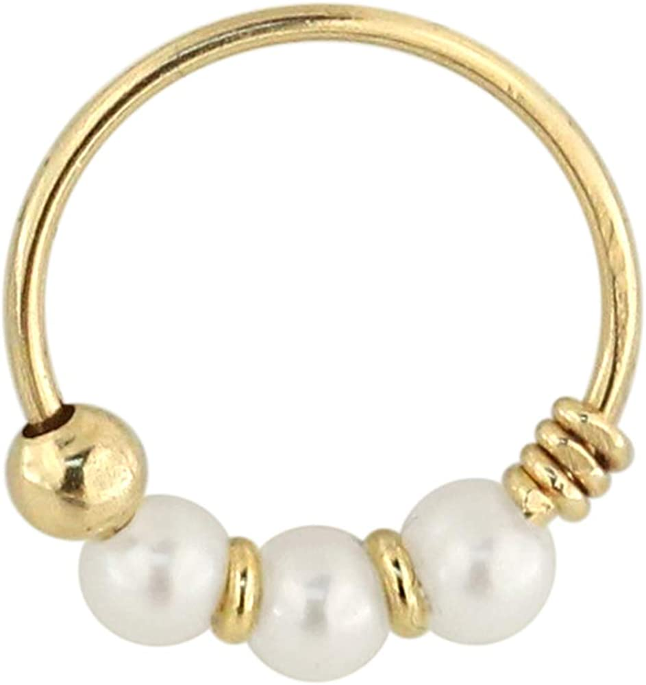 9K Solid Yellow Gold Triple Pearl Ball 22 Gauge Hoop Nose Piercing Ring Jewelry