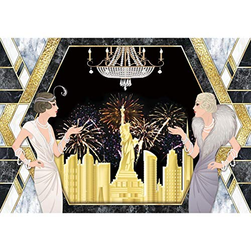 Allenjoy 7x5ft Roaring 20s Backdrop The Great Gatsby Golden Photography Background Wedding Birthday New Year Party Supplies Cake Table Decorations 1920s Retro Banner Photo Booth Props