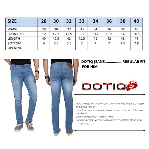 Dotiq Men's Regular Fit/Casual Denim Fabric/Comfortable/Classic 5-Pocket Jeans