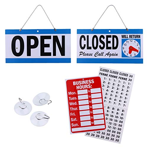 Business Hour Open Closed Sign  Bundle of Office Hours Sign Will Return Clock with Suction Cups for Door Window Businesses Stores Restaurants Bars Retail Barbershop Salon Shops (Complete Set)